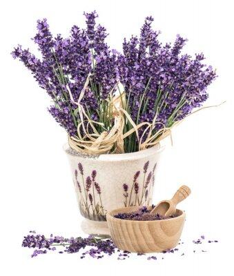 Наклейка Лаванда цветы и деревянной ступке с солью ванны