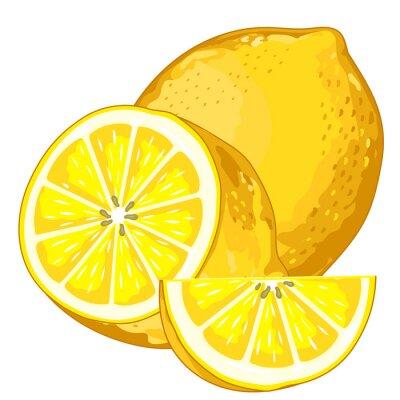Наклейка Лимонный Изолированные на белом фоне.
