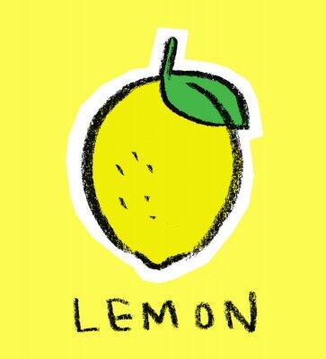 Наклейка Лимон на желтом фоне