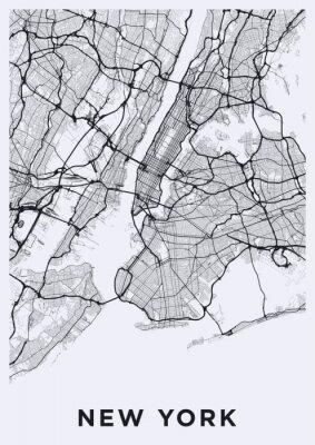 Наклейка Светлая карта Нью-Йорка. Дорожная карта Нью-Йорка (США). Транспортная сеть Большого Яблока. Формат плаката для печати (портрет).