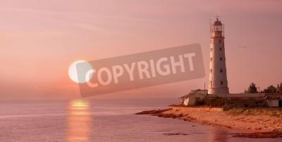 Наклейка маяк и закат