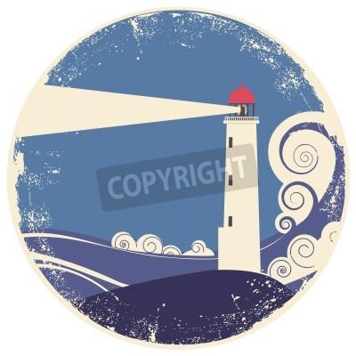 Наклейка Маяк в море landscape.vintage иллюстрации на старой бумаге