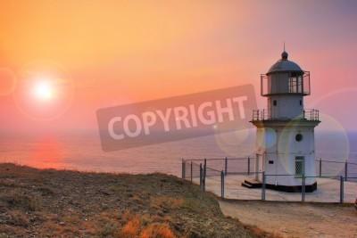 Наклейка Lighthouse on the coast at dawn