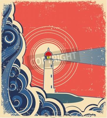 Наклейка Lighthouse with blue sea.