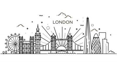Наклейка Линейный баннер Лондона.