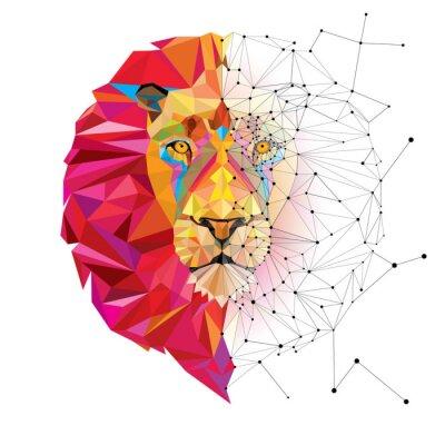 Наклейка Львиная голова в геометрический узор со звездами вектора линии