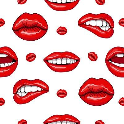Наклейка Lips Бесшовные шаблон в ретро стиле поп-арт
