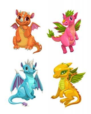 Наклейка Little cute cartoon dragons set. Colotful fantasy monsters.