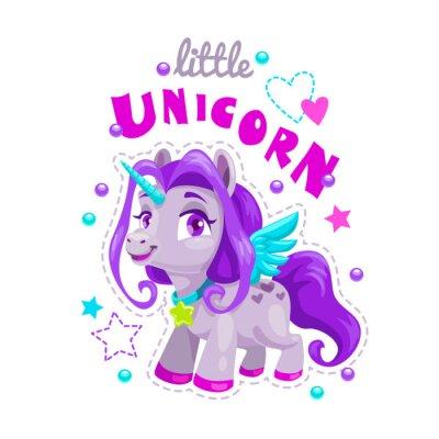 Наклейка Маленький милый мультфильм Единорог этикетка. Сладкий пони принцесса иллюстрации.