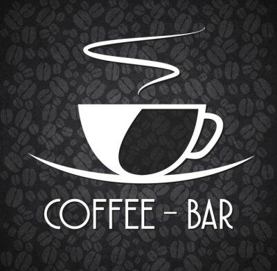 Наклейка Logo Minimalist Coffee Bar Black and White