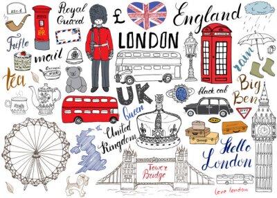 Наклейка Лондон коллекция городских Doodles элементы. Рисованной набор с, Тауэрский мост, корону, Биг Бен, королевской гвардии, красный автобус и черное такси, карта Великобритании и флаг, чайника, надписи, ве
