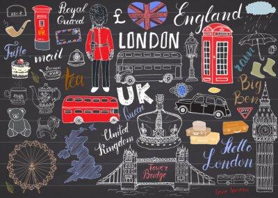 Наклейка Лондон коллекция городских Doodles элементы. Рисованной набор с, Тауэрский мост, корону, Биг Бен, королевской гвардии, красный автобус, карта Великобритании и флаг, чайника, надписи, векторные иллюстр
