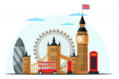 Наклейка London cityscape flat vector color illustration