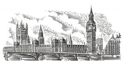 Наклейка Лондонский городской пейзаж векторные иллюстрации, стиль гравировки. Вестминстерский дворец, Вестминстерский мост, башня Елизаветы (Биг Бен). Изолированные. (Фон неба в отдельном слое).