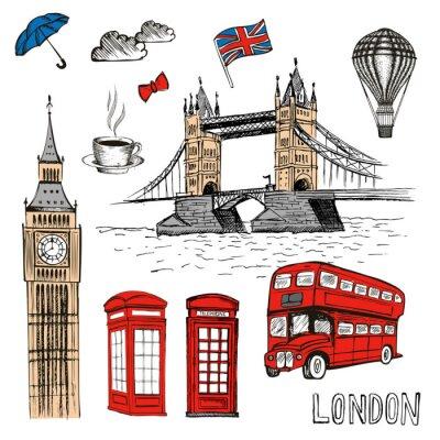 Наклейка Лондонский дудлы. Вектор рисованной иллюстрации с символами Лондона