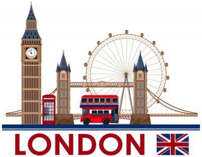 Наклейка Лондонский ориентир на белом фоне
