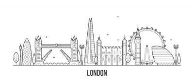 Наклейка Лондонский горизонт, Англия, Великобритания город зданий вектор