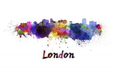Наклейка Лондонский горизонт в акварели