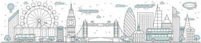Наклейка London skyline. Line cityscape with building landmarks horizontal panorama. London skyline with Big Ben, Tower Bridge street city sights. Capital city constructions outline, architecture concept