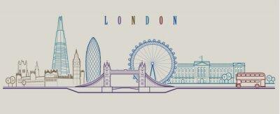 Наклейка Лондонский горизонт. Векторный фон. Контур графической иллюстрации.