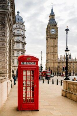 Наклейка Лондонская телефонная будка и Биг Бен