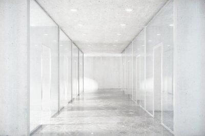 Наклейка Длинный коридор с бетонным полом и прозрачными стенками в совреме