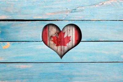 Наклейка Любовь Канады. Сердце и флаг на синем деревянной доске