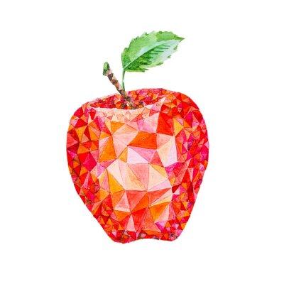 Наклейка Низкий поли акварель яблоко