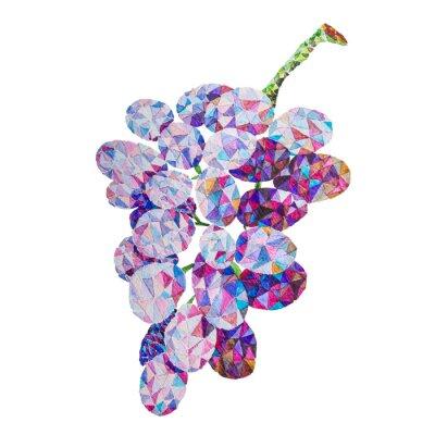 Наклейка Низкополигональная винограда акварель