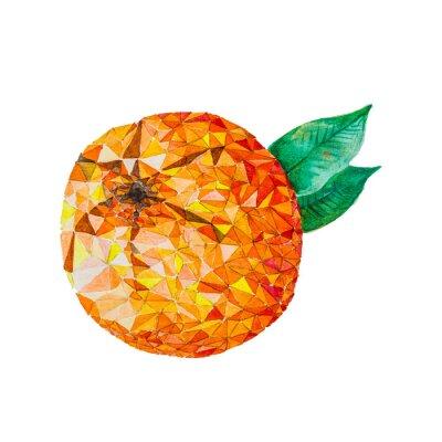 Наклейка Низкий поли акварель оранжевый