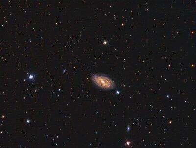 Наклейка M109 Galaxy визуализируют с помощью телескопа и научной ПЗС-камеры