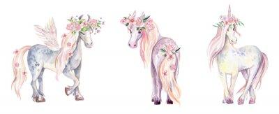 Наклейка Волшебный Единорог, Пегас и Пони. Акварельные иллюстрации, красота