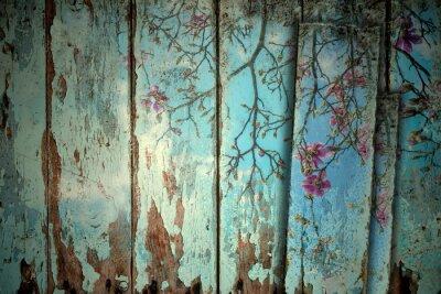 Наклейка Магнолии весной старом фоне