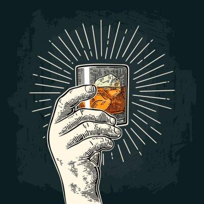Наклейка Мужской рука, проведение стеклянного виски с лучами