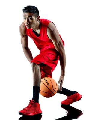 Наклейка человек баскетболист изолированные силуэт