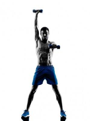Наклейка Человек, осуществляющих фитнес весов силуэт