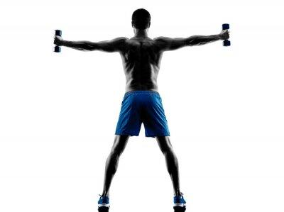 Наклейка Человек, осуществляющих веса фитнес-силуэт