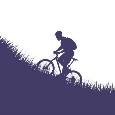 Наклейка Человек на велосипеде силуэт