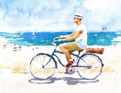 Наклейка Человек на велосипеде Летний пляжный пейзаж Акварельная иллюстрация Ручная роспись