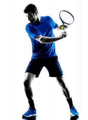 Наклейка man silhouette playing tennis player