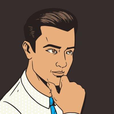 Наклейка Человек мышления трудно поп-вектор художественный стиль