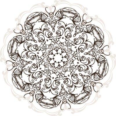 Наклейка Мандала этнических индийский дизайн иллюстрация