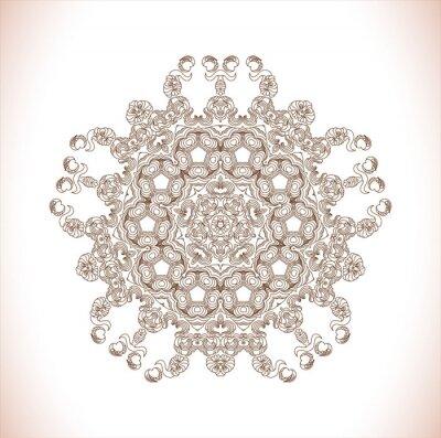 Наклейка Мандала. Круглый узор. Абстрактный узор элегантность. Нарисованный от руки
