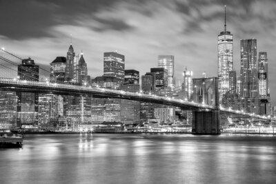 Наклейка Манхэттен и Бруклинский мост черно-белый, Нью-Йорк
