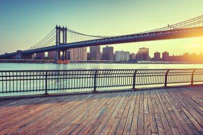 Наклейка Манхэттен мост через Ист-Ривер на закате