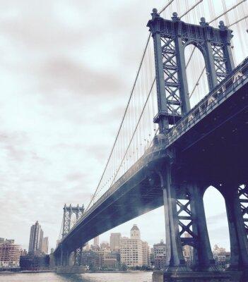 Наклейка Манхэттен мост через реку в винтажном стиле, Нью-Йорк