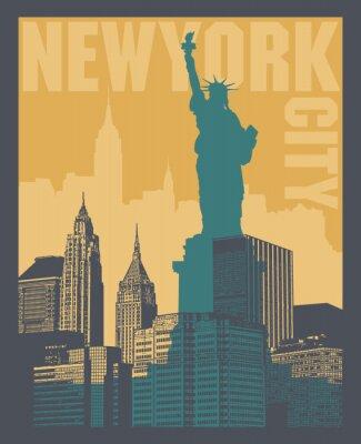 Наклейка Манхэттен, Нью-Йорк, силуэт иллюстрации