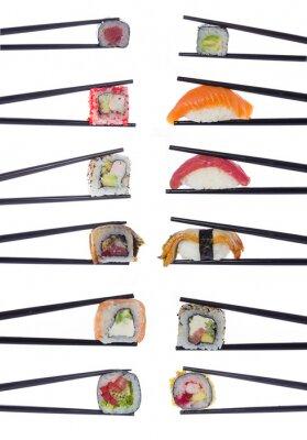 Наклейка Многие суши в рулонах палочками, изолированных на белом фоне