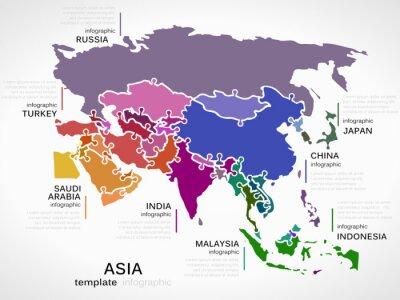 Наклейка Карта Азии