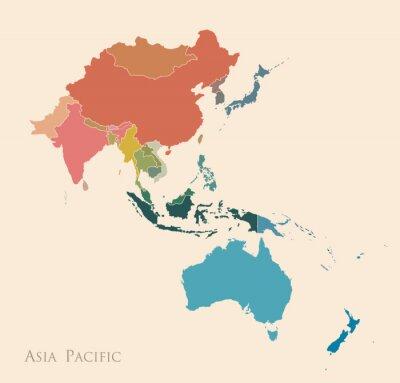 Наклейка Карта Азиатско-Тихоокеанского региона